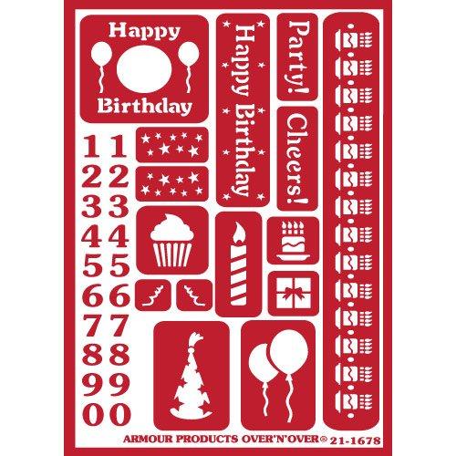 Multicolor Armour Products Over Over n Over Glass Etching Stencil Happy Birthday