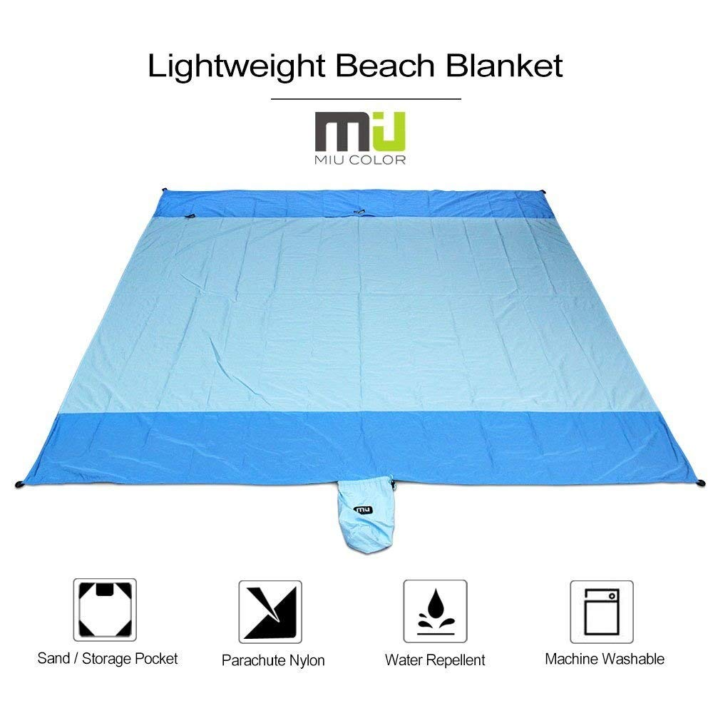 MIU COLOR® Compact Lightweight Beach Blanket - 204cmx180cm Waterproof and Sand Proof Strong Ripstop Parachute Nylon Foldable Blanket, Perfect for Outdoor Picnic Beach Camping Sporting Events - Blue