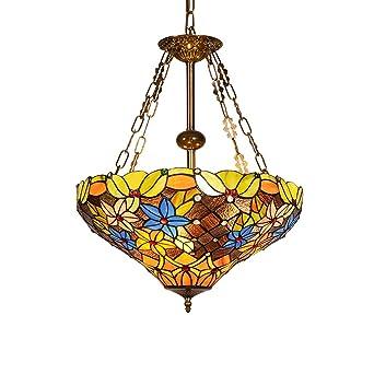 CCSUN Estilo tiffany Colgante luz, 3-luce Lámpara de araña Vidrio pantalla de lámpara