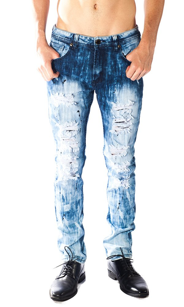 ''White Out'' Gold Leaf Blue Men's Jeans 30