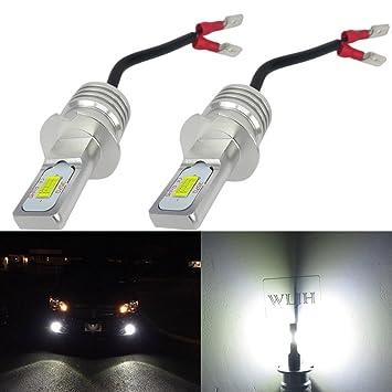 WLJH - Bombillas de luz antiniebla LED H3 1000 lm 72 W, 6500K chips CSP