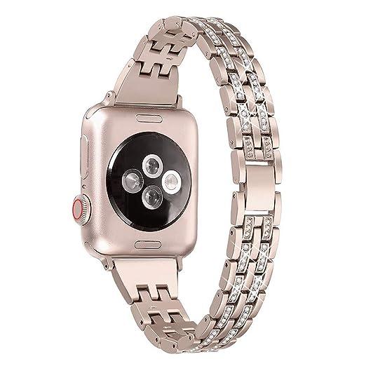 Wristbands para Mujer Relojes Cinco de con Taladro Brazalete Cero Inoxidable Repuesto de Elegante Strap Acero Bandas de Dos Filas Reloj Correa Serie 4 40mm: ...