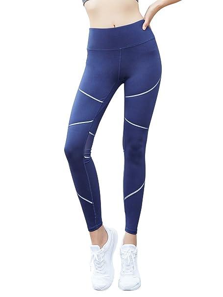 Mujer Cintura Alta Malla Polainas Tramo Pantalones de Yoga ...