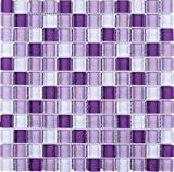 TGEMG-05 1x1 Square Purple Glass Mosaic Tile Sheet-Kitchen and Bath backsplash Wall Tile,Pool Tile,Shower Tile (10 Sheets)