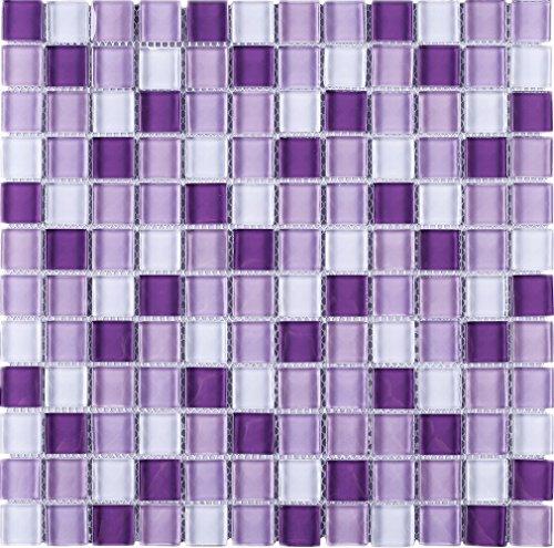 (TGEMG-05 1x1 Square Purple Glass Mosaic Tile Sheet-Kitchen and Bath backsplash Wall Tile,Pool Tile,Shower Tile (Sample Swatch))