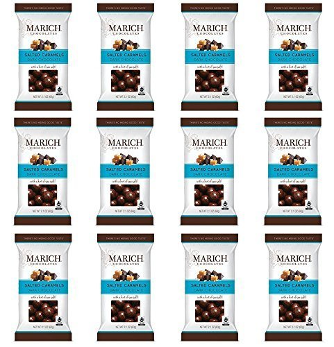 Marich Dark Chocolate Salted Caramels 2.1 Ounce Bag (Pack of 12)
