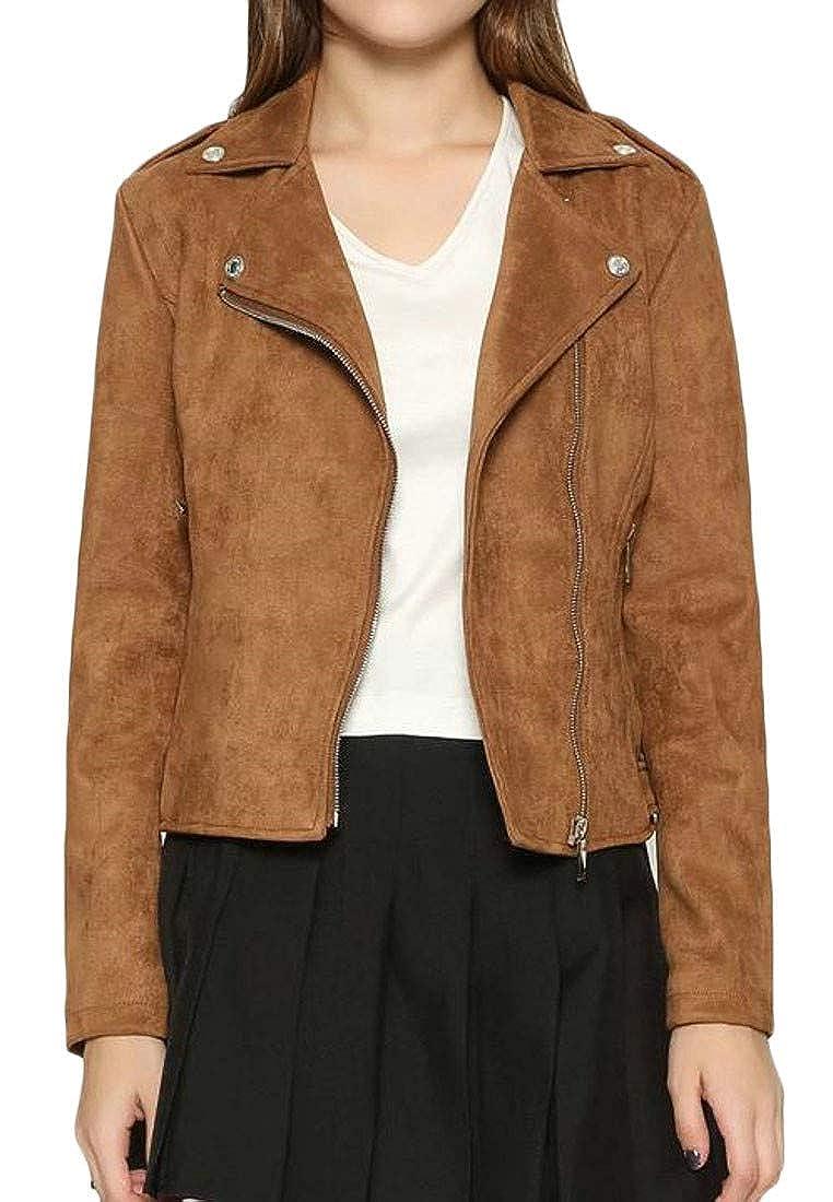 Coffee Bigbarry Women's Lapel Suede Oblique Zipper Slim Fit Moto Biker Jacket Coat