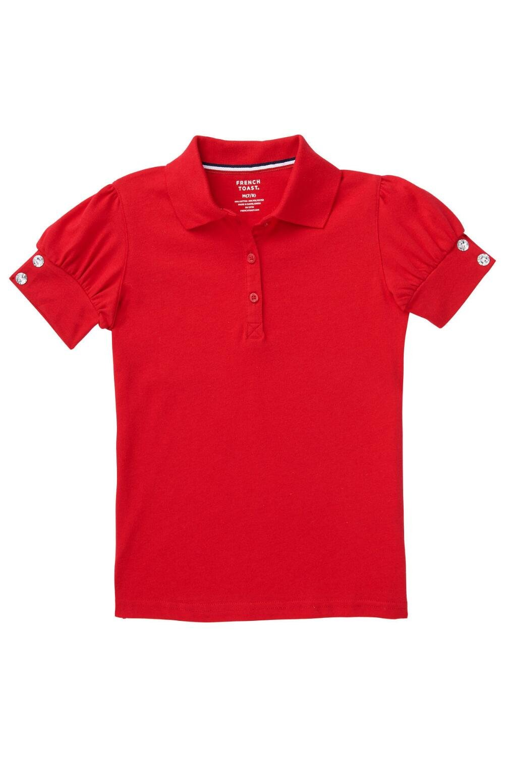 French Toast Little Girls Puff Sleeve Polo Shirt, Red, Small/6/6x
