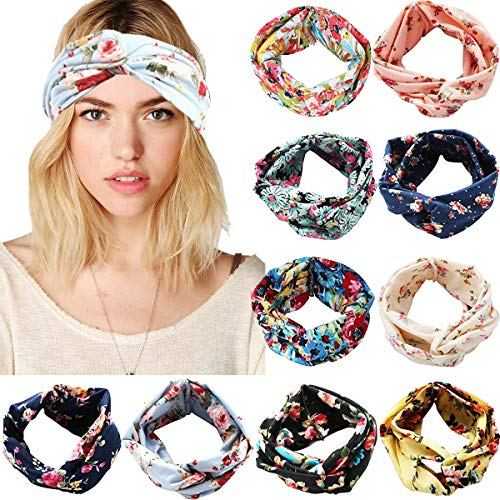 10 Pack Women Headbands Printed Floral Style Criss Cross Head Wrap Yoga Hair Band for Girls Lady