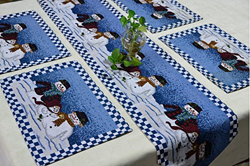 Judy Dre Am 5pcs Blue Christmas Snowman Table Runners Placemats Decorations  Table Cloth Festive Christmas Tapestry