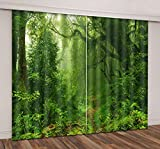 Cheap LB 2 Panels Room Darkening Thermal Insulated Blackout Window Curtains,Dense Forest Hot Style Window Treatment 3D Window Drapes for Living Room Bedroom,52 x 63 Inches