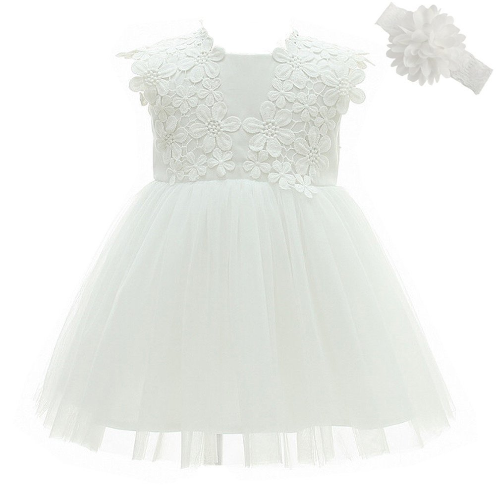 Meiqiduo Baby Girls Dress Christening Baptism Party Formal Dresses