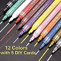 Cozyswan 12色マーカーペン 水性カラーペン 鮮やか 筆記用具 文房具 文具 サインイン おしゃれ 描き 絵用具 落書き カジュアル アクリルマーカーペン