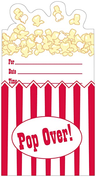 Hollywood Deko Party Einladung Movie PopCorn, 8 Stk.