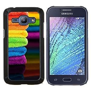 Caucho caso de Shell duro de la cubierta de accesorios de protección BY RAYDREAMMM - Samsung Galaxy J1 J100 - Tela verano colorido del arco iris