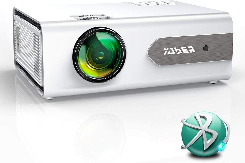 Proyector,YABER V3 6000 Bluetooth Mini Proyector Portátil Soporta Full HD 1080P, Video Proyector 720P Cine en Casa 80000 Horas, Función Zoom, para iOS/Android/TV Stick/PS4 Altavoz/Auricular Bluetooth