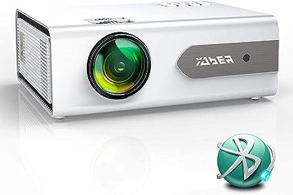 Proyector Bluetooth,YABER V3 6000 Lúmenes Mini Proyector Portátil Full HD 1080P Soporta, Proyector 720P Cine en Casa 80000 Horas, Función de Zoom, para PS4, TV Stick iPad Altavoz/Auricular Bluetooth