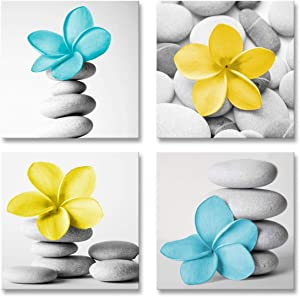 Genius Decor-Modern Wall Art Picture Flowers and Pebble Stone Canvas Art Blue Yellow Decor(Teal Yellow)