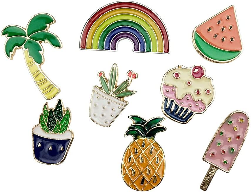8PCS Cute Cartoon Enamel Brooch Lapel Pins Summer Plant Fruits Foods Badges for Clothes Bags Backpacks Hat Décor by CSPRING