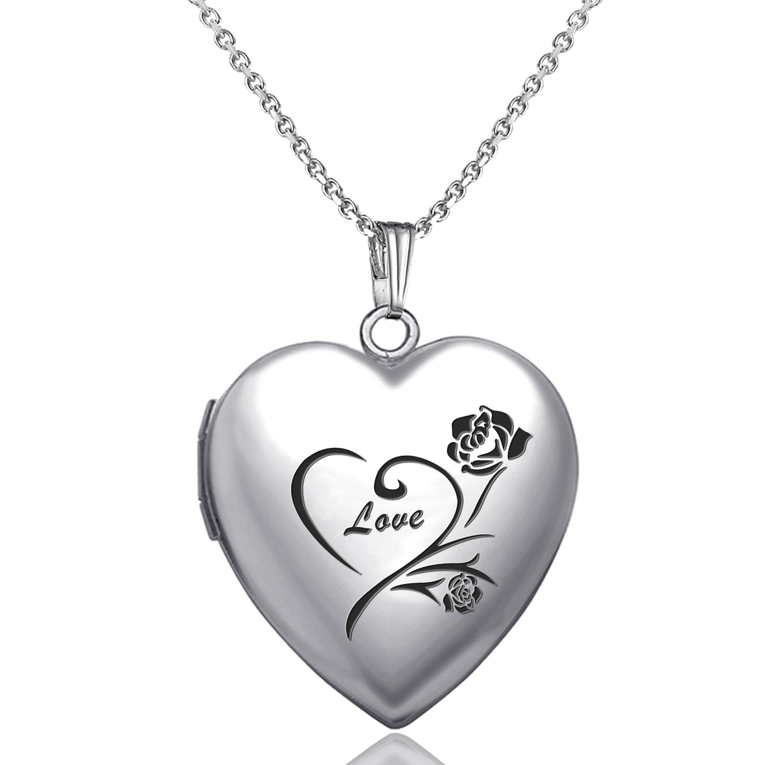 YOUFENG Love Heart Locket Necklace That Holds Pictures Engraved Always in My Heart Memories Photo Lockets (Flower love locket)