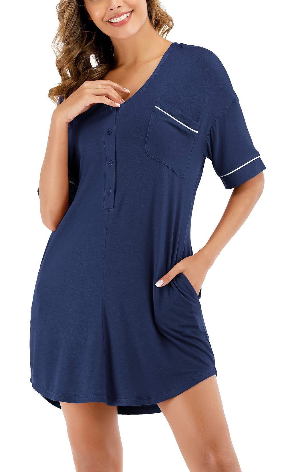SmilerSmile Women's Cotton Nightgown Sexy Sleepwear Short Sleeve Button Down AnybodyLoungewear with Pockets,Dark Blue,S
