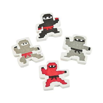 Amazon.com: Fun Express - Pixel Ninja Erasers - Stationery ...