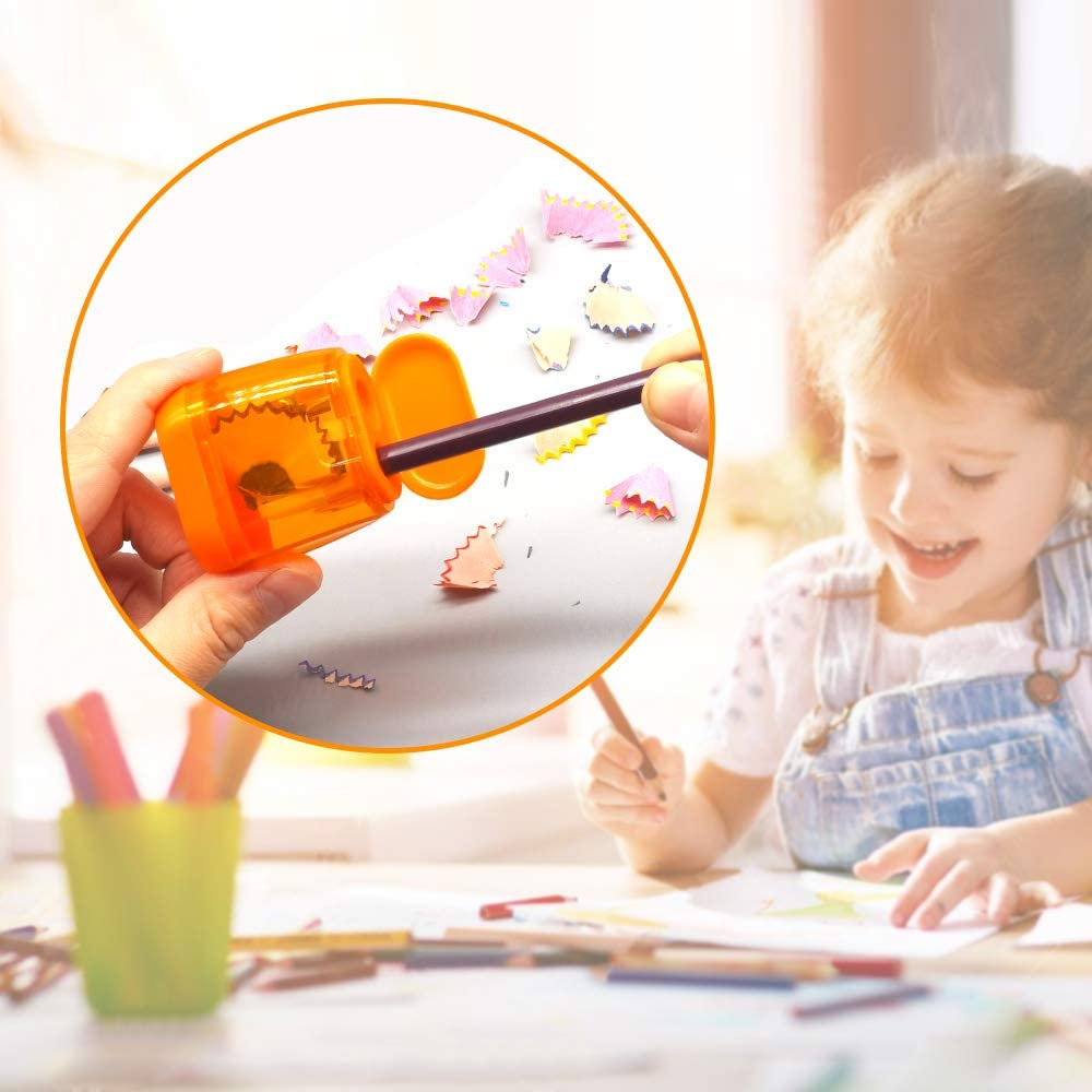 Portable Pencil Sharpener for Travel School Office and More Manual Pencil Sharpeners 4PCS Colorful Compact Dual Holes Sharpener with Lid for Kids /& Adults