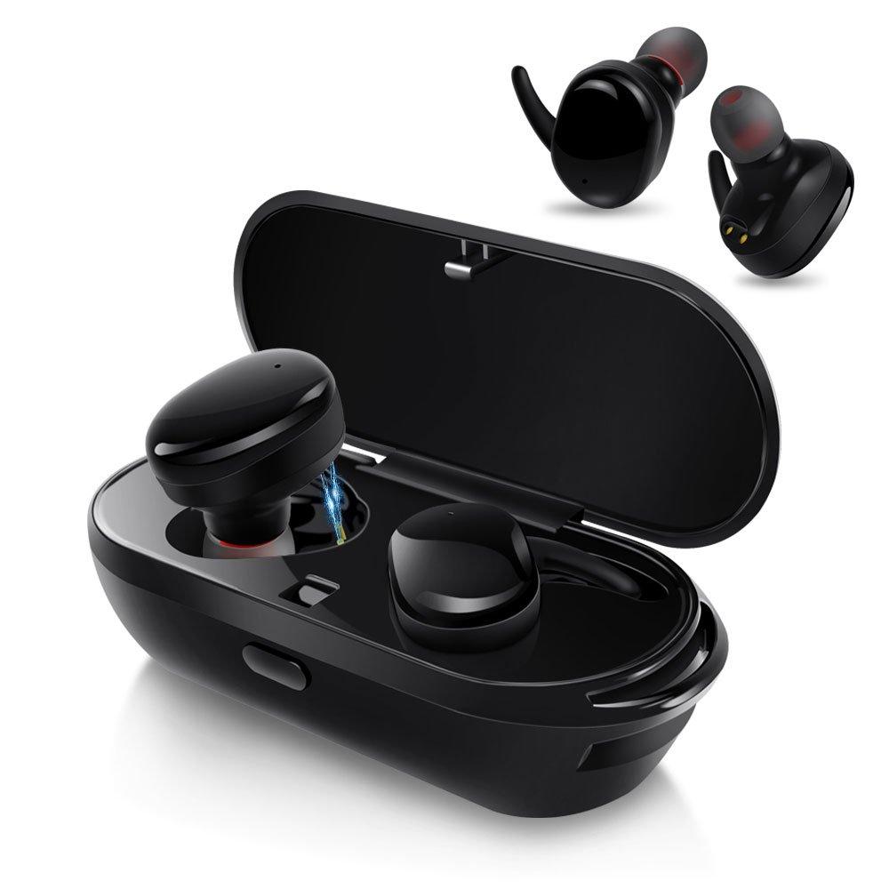 AIKAQI Bluetooth イヤホン 完全ワイヤレス イヤホン 左右分離型 片耳 両耳とも対応 スポーツ 高音質 ワンボタン設計 軽量 マイク内蔵 ハンズフリー通話 IPX5防汗防滴 充電機能搭載収納ケース ステレオヘッドセット 技適認証済 B04 ブラック