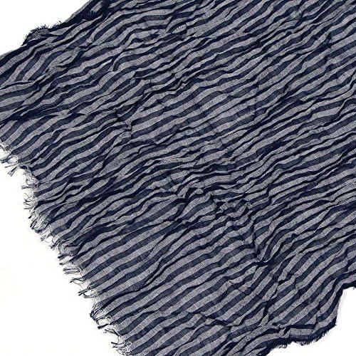 今治産 瀬戸内ガーゼマフラー 40x180cm UVカット (8ストライプ 藍茶色)
