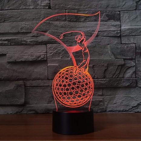 Golfista 3D Modelado LED Lámpara de Mesa Dormitorio LED Vision Luz ...