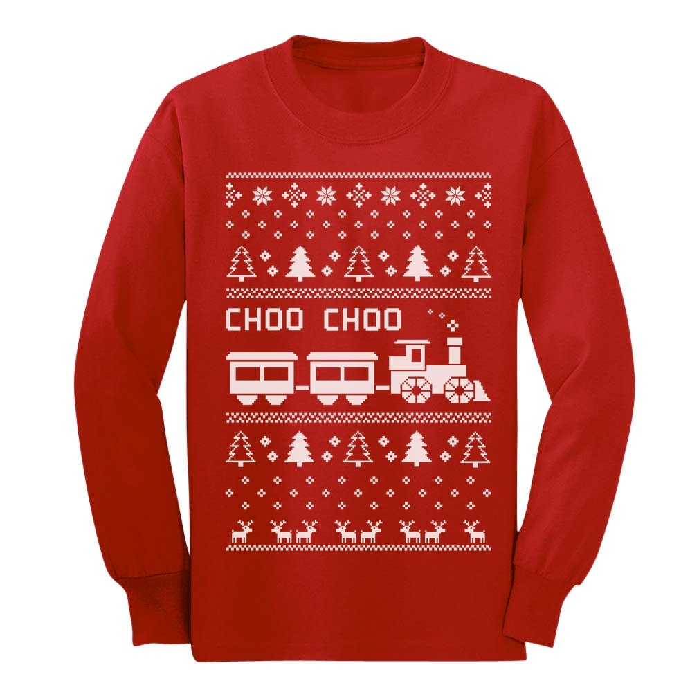 Amazon.com: Choo Choo Train Children\'s Ugly Christmas Sweater Cute ...