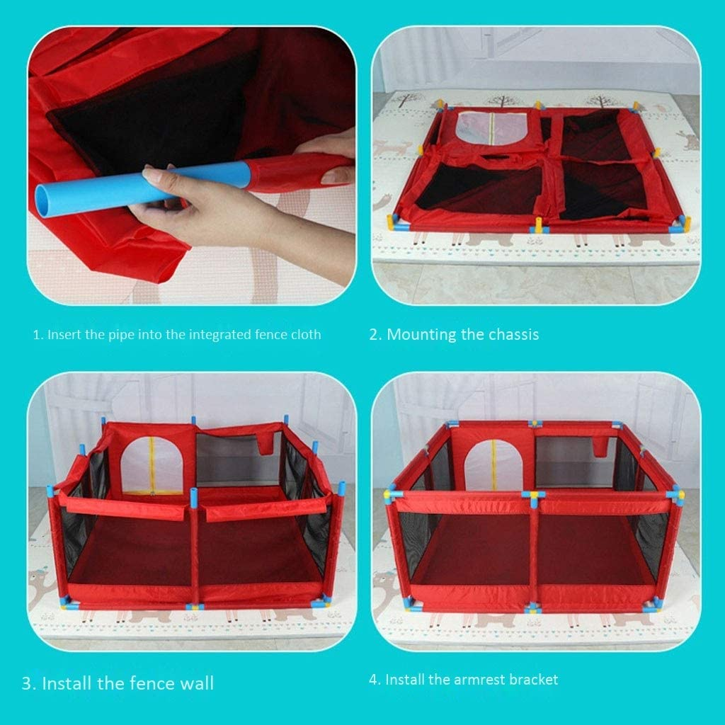 Color : Red, Size : 1.9x1.28m Lightweight Playpen Baby Safety Play Yard Activity Centre Toddler Crawl Play Area Baby Playards