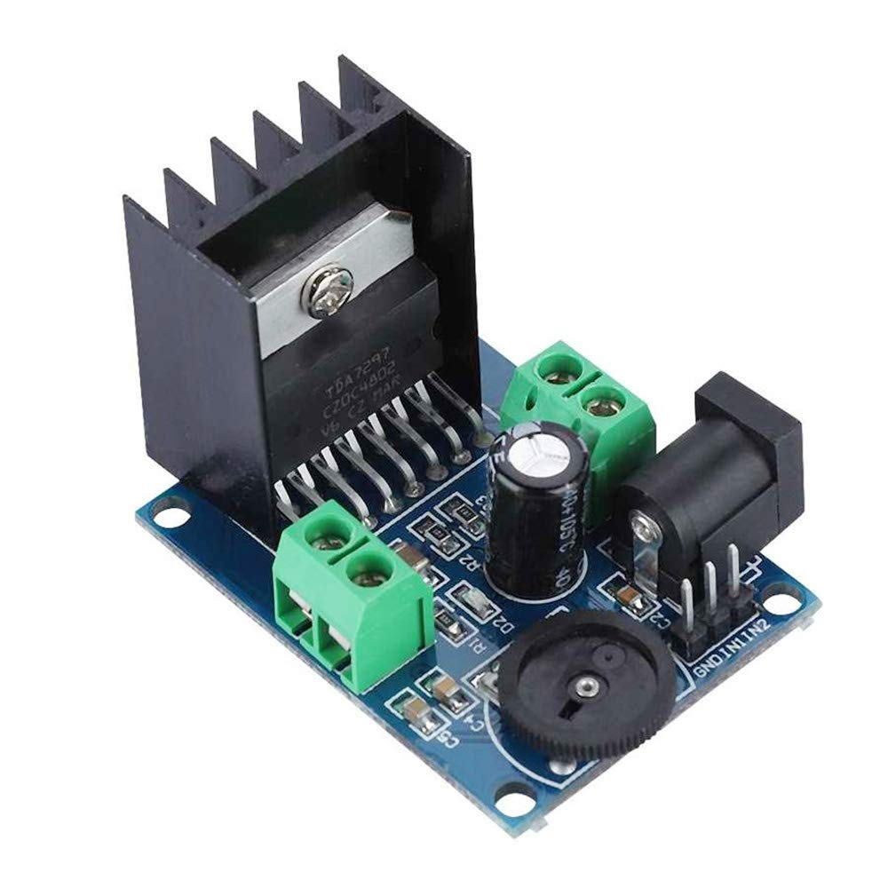 DAOKI 2PCS TDA7297 15W+15W Audio Power Amplifier Module DC 6-18V Dual-Channel Digital Stereo Audio Power Amplifier Board for DIY with 2PCS DC Power Cable,3.5mm Audio Jack Cable