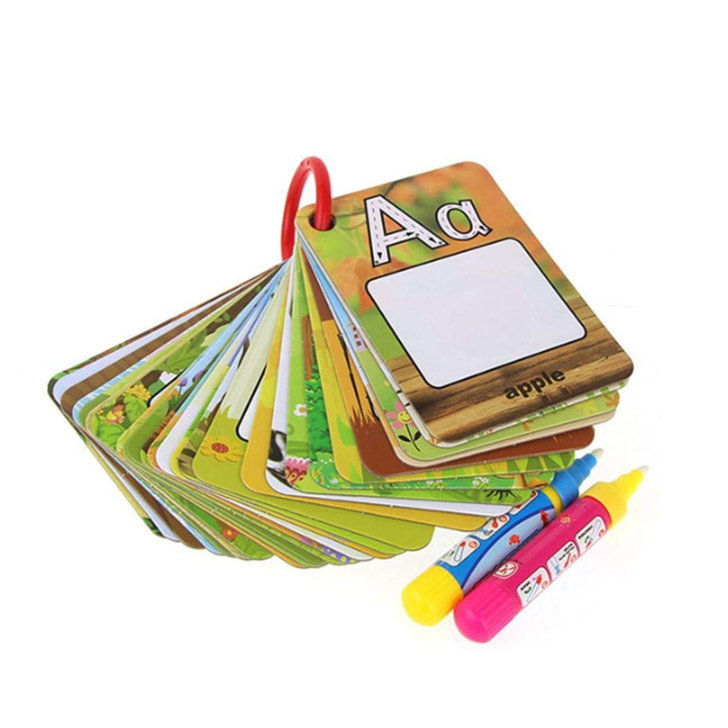 Qenci A-Z 26 Alphabet Water Painting Cards,Children Drawing Board Children Colouring Card for Kids Educational Toys