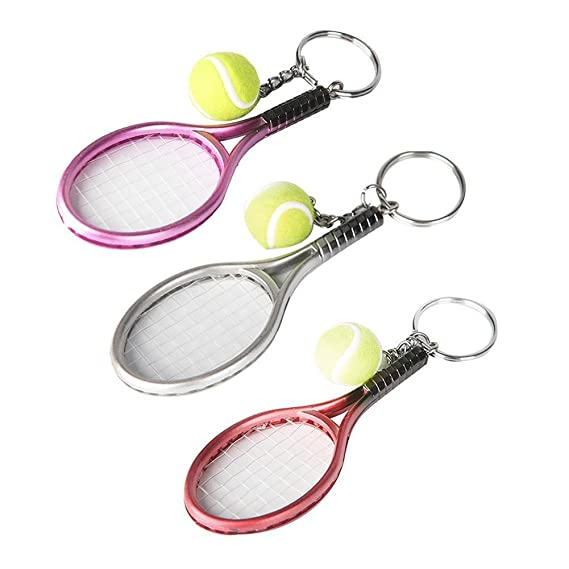 Amazon.com: bleumoo 1pcs Mini Metal raqueta de tenis hecho a ...