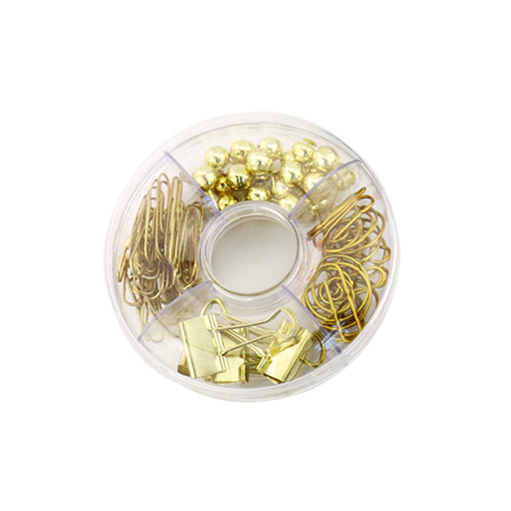 Heatleper 65Pcs Desk Paper Clips, Push Pins, Binder Clips in Clear Circular Acrylic Paper Clips Holder for Office School Home Daily Use (Gold)