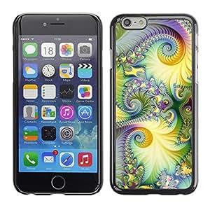 Cubierta de la caja de protección la piel dura para el Apple iPhone 6PLUS (5.5) - floral purple green lsd hippie psychedelic
