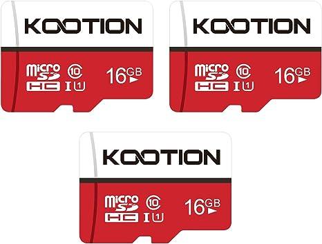 KOOTION Micro SD 16GB Clase 10 Tarjeta MicroSD Pack 3 Tarjetas Memoria Micro SD SDHC 16