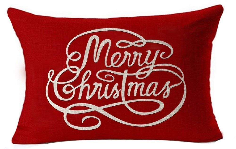 shengpeng 12 x 18 Inches Simple Letters Merry Christmas In Red Cotton Linen Throw Waist Lumbar Pillow Case Cushion Cover Personalized Home Office Decorative Rectangle