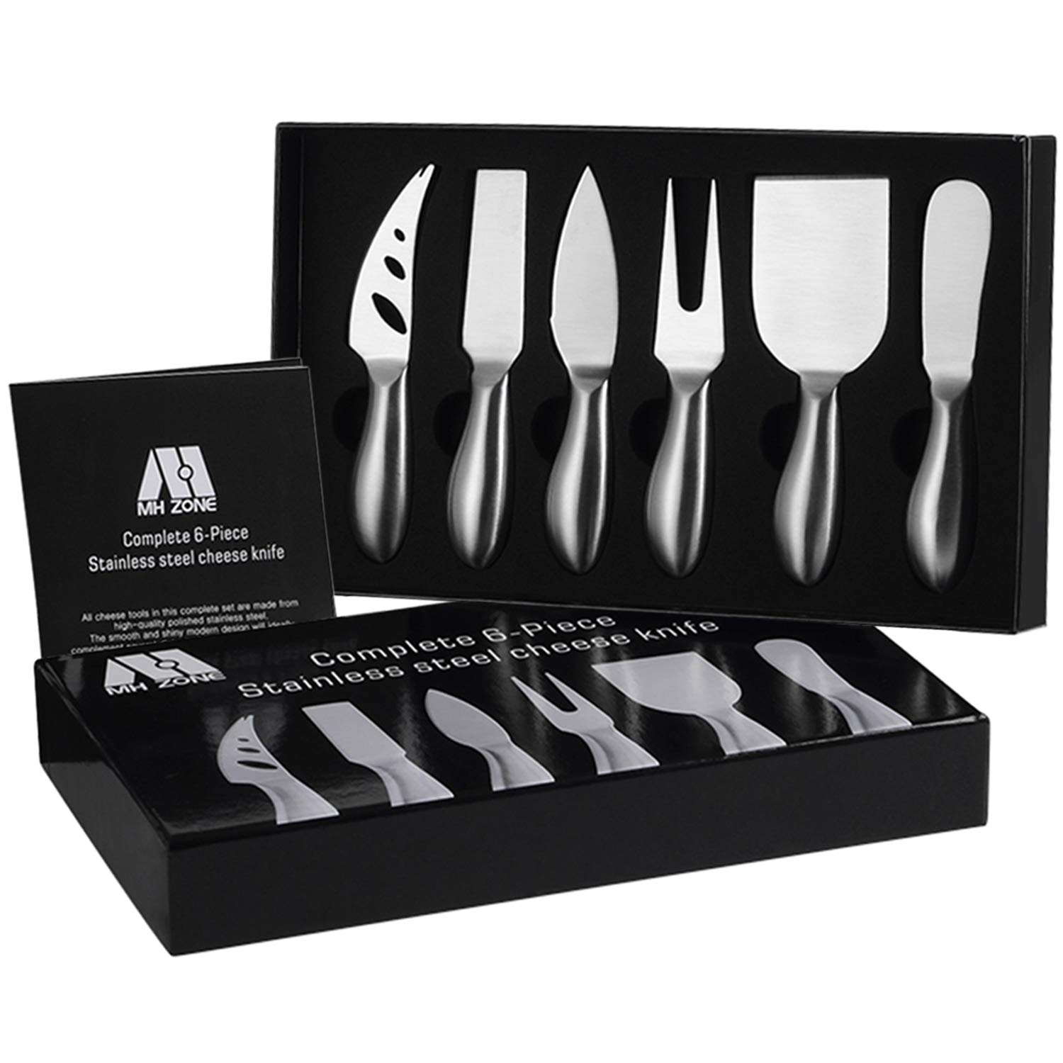 Premium 6-Piece Cheese Knife Set - MH ZONE Complete Stainless Steel Cheese Knives Gift Knives Sets Collection, Suit for the Wedding, Lover, Elders, Children and Friends, Perfect Christmas Gift by M MH ZONE