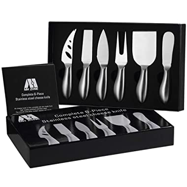 Premium 6-Piece Cheese Knife Set - MH ZONE Complete Stainless Steel Cheese Knives Gift Knives Sets Collection, Suit for the Wedding, Lover, Elders, Children and Friends, Perfect Christmas Gifts