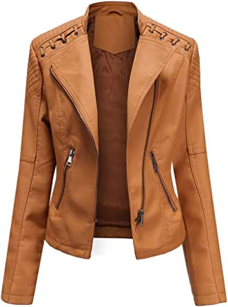 AicciAizzi Mujer Casual Chaquetas PU Cuero Manga Larga Otoño Tops Cremallera Pockets Biker Coat Slim fit 6 Colors
