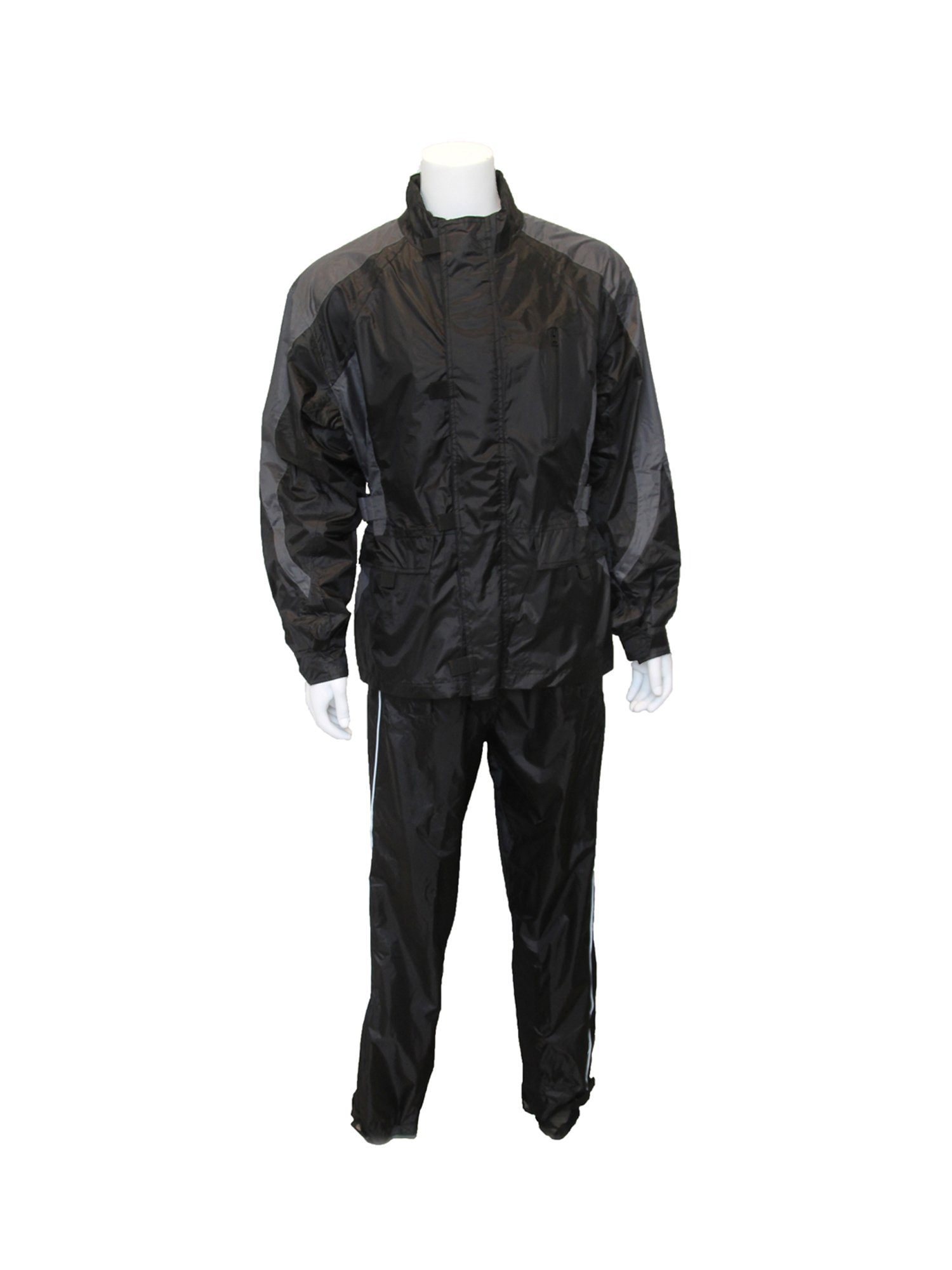 RoadDog 2 Pc Stay-Dry Motorcycle Rain Suit Waterproof Adult Silver/Black X-Large