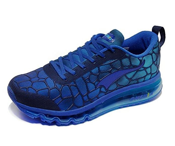 Herren Sportschuhe Laufschuhe mit Luftpolster Turnschuhe Profilsohle Sneakers Leichte Schuhe, Rot, 40 EU