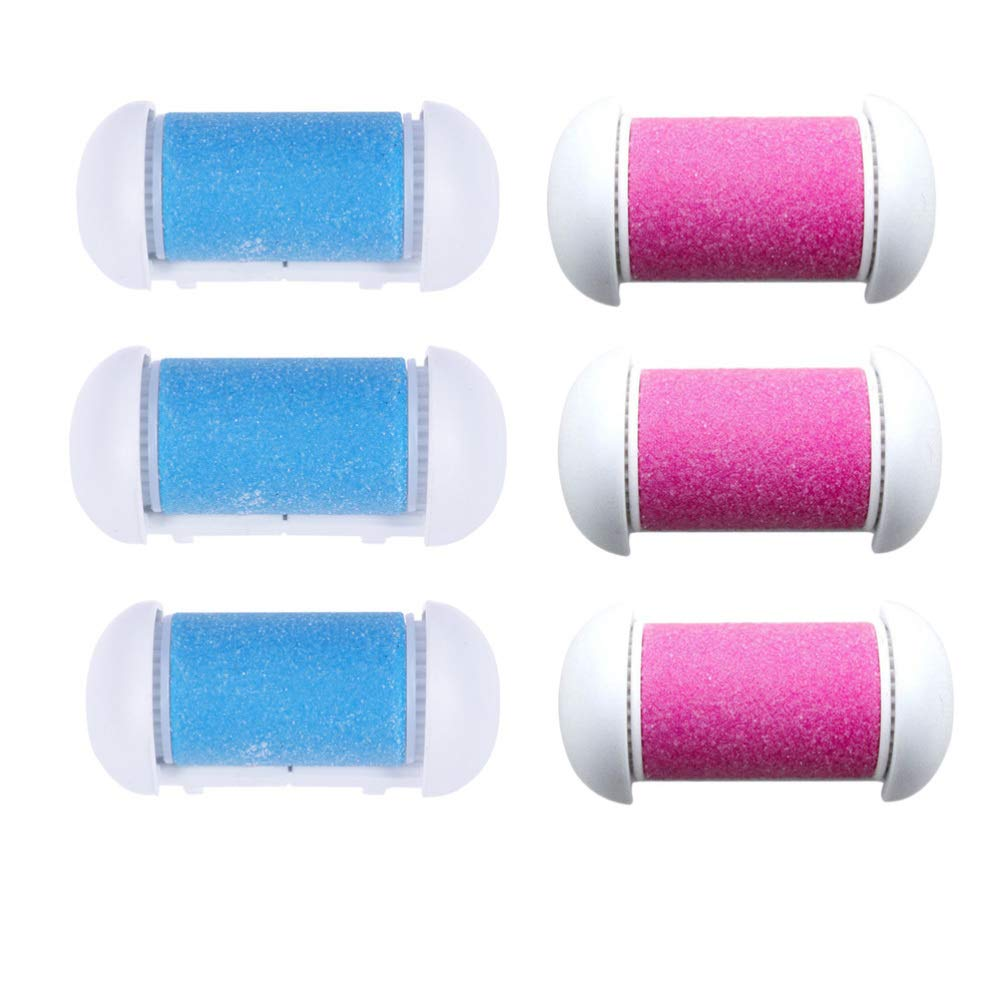Minkissy 10pcs Replacement Rollers Foot File Refills Compatible Rollers Heads Pedicure Hard Skin Remover Rollers (Pink and Blue)