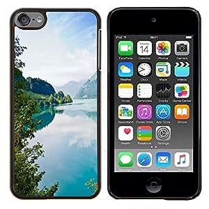 Tourquise Blue Lake- Metal de aluminio y de plástico duro Caja del teléfono - Negro - iPod Touch 6