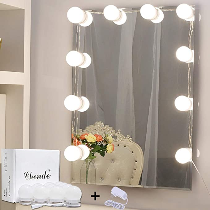 Hollywood Style LED Vanity Mirror Lights Kit with Dimmable Light Bulbs,