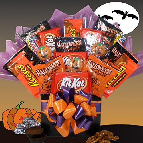 Halloween Adult Ideas (Delight Expressions Happy Haunting Halloween Gift Box - Chocolate and Candy Bouquet - Gift Basket Idea)
