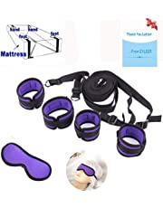 EYLEER Handcuffs in Bed and Eye Shield Accessories for Couple Restraints (Purple)