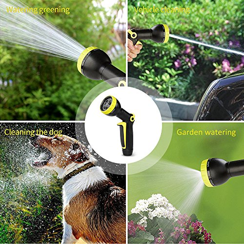 growfast Garden Hose Nozzle,Single-hand Adjust Watering Patterns Sprayer with 8 Adjustable Watering Patterns and Flow Control Setting Knob, Suitable for Lawn Maintenance Cleaning